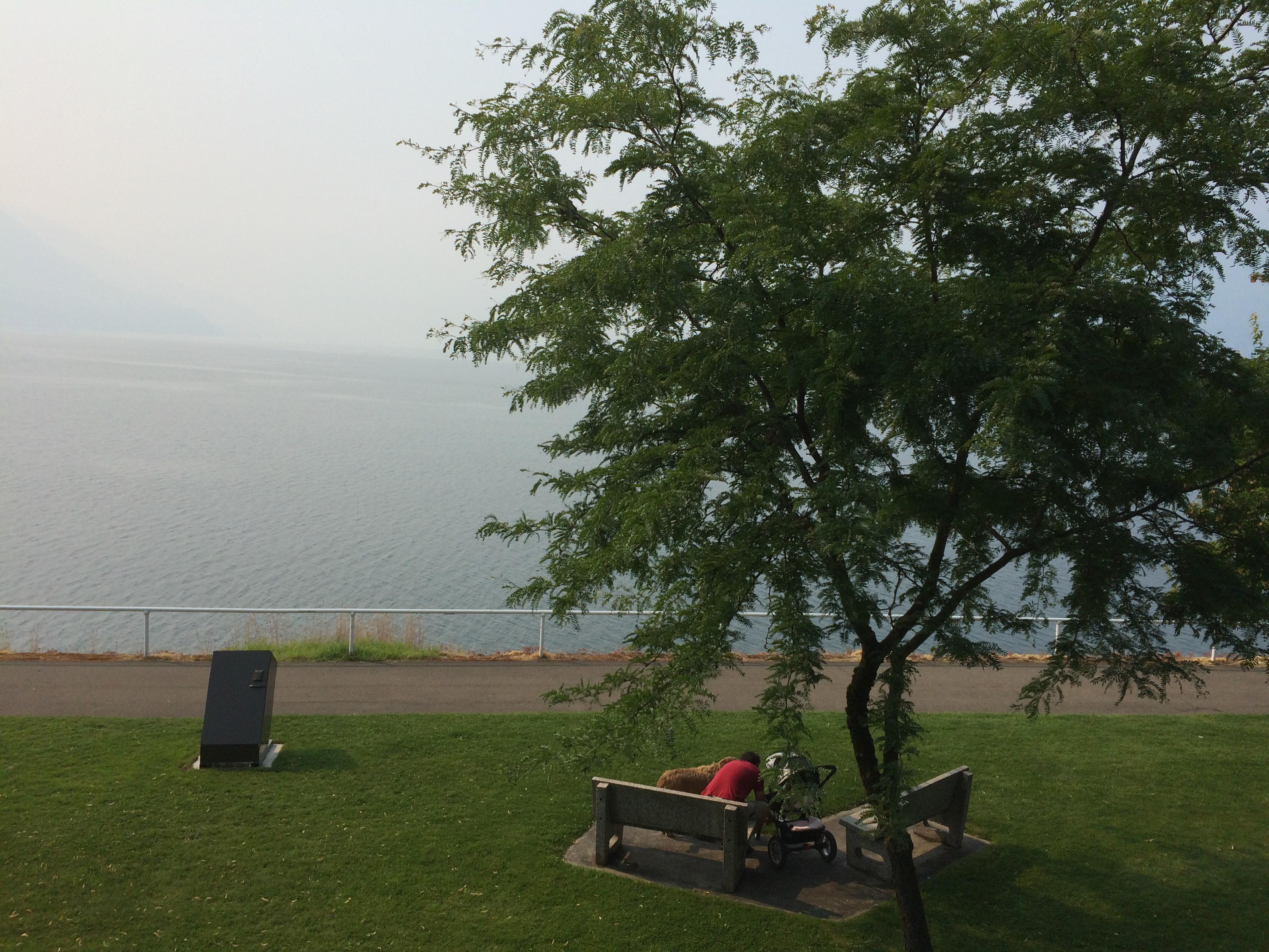 Heavy smoke over the lake at Nakusp